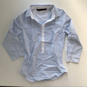 Zara Basic Long Sleeves Blue White Top XS